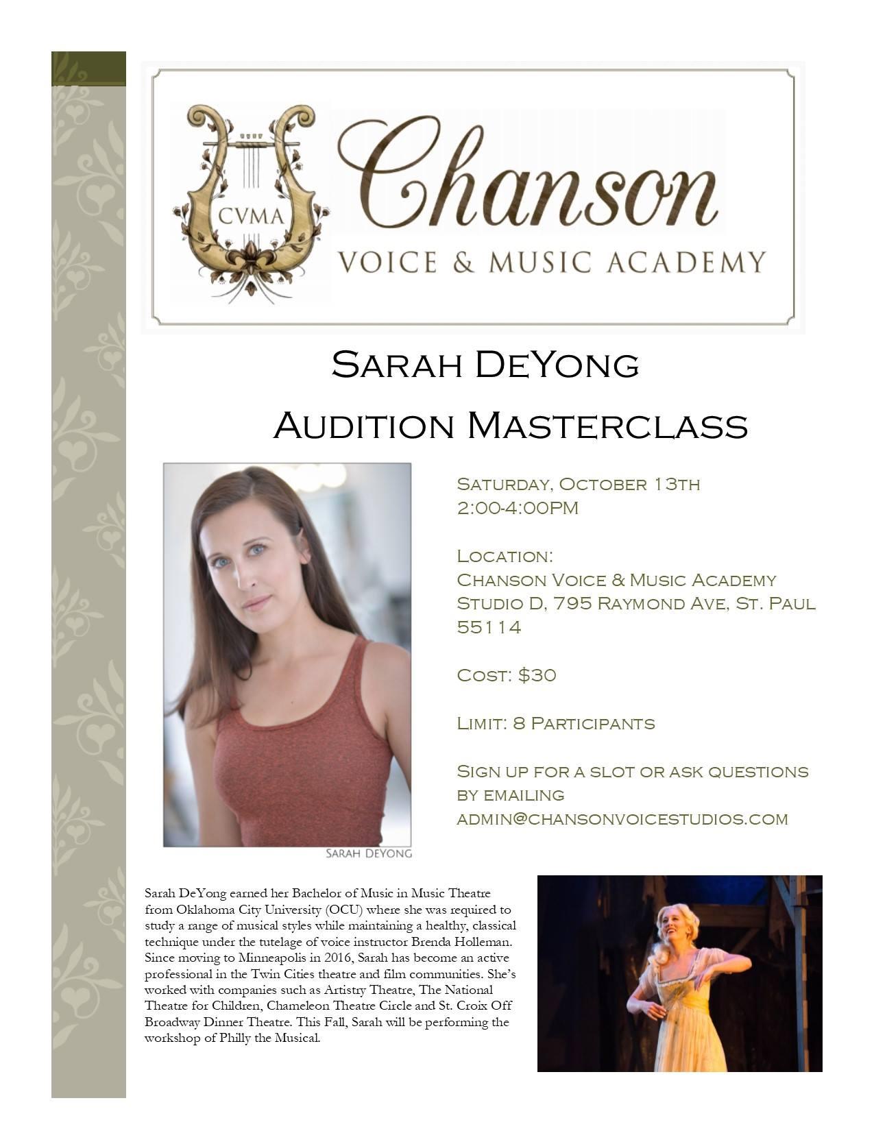 Sarah DeYong Audition Masterclass